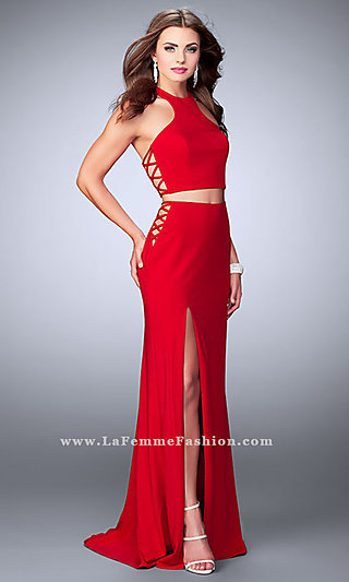 Long Jersey Prom Dress with Lace Up Sides