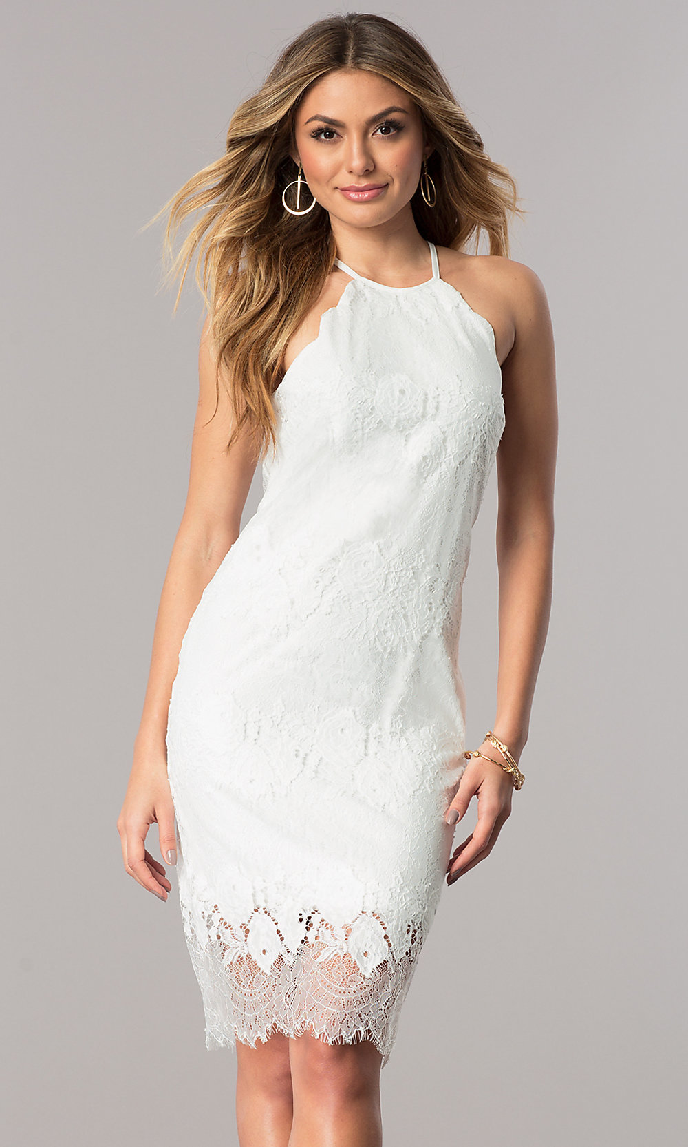 White Lace Rehearsal Dinner Short Party Dress