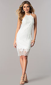Image Of White Lace Short Rehearsal Dinner Party Dress Style Ju 10055