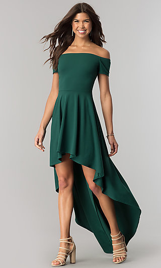 Off-the-Shoulder Party Dress with High-Low Skirt