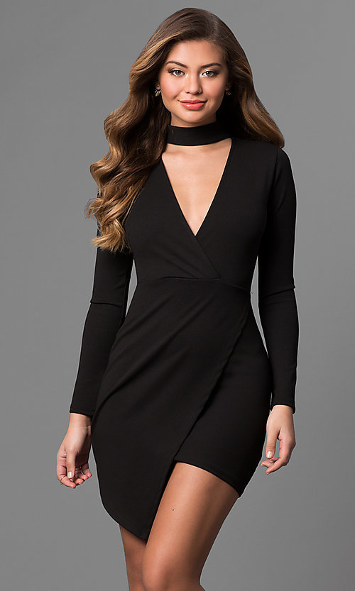 Image of mock-wrap short party dress with long sleeves.  Style: BLU-BD8383 Front Image