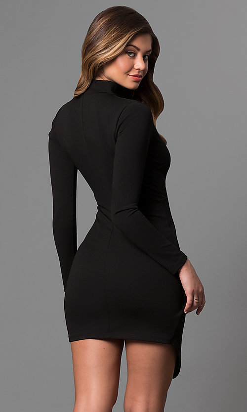 Image of mock-wrap short party dress with long sleeves.  Style: BLU-BD8383 Back Image