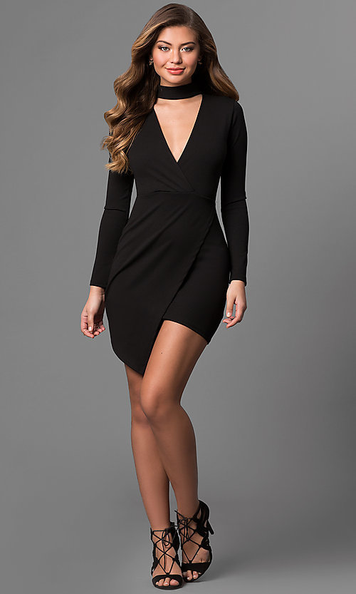 Image of mock-wrap short party dress with long sleeves.  Style: BLU-BD8383 Detail Image 1