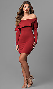 Image of off-the-shoulder short party dress with sleeves. Style: BLU-BD8386 Detail Image 3