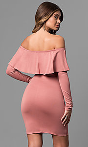 Image of off-the-shoulder short party dress with sleeves. Style: BLU-BD8386 Back Image
