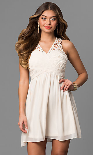 A Line Short Graduation Party Dress With Lace Back