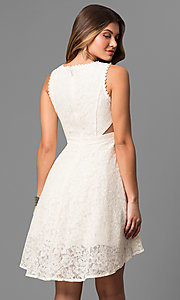 Image of lace high-low short graduation dress with cut outs. Style: LP-24197 Back Image