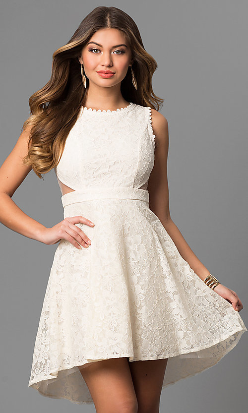 Image of lace high-low short graduation dress with cut outs. Style: LP-24197 Front Image