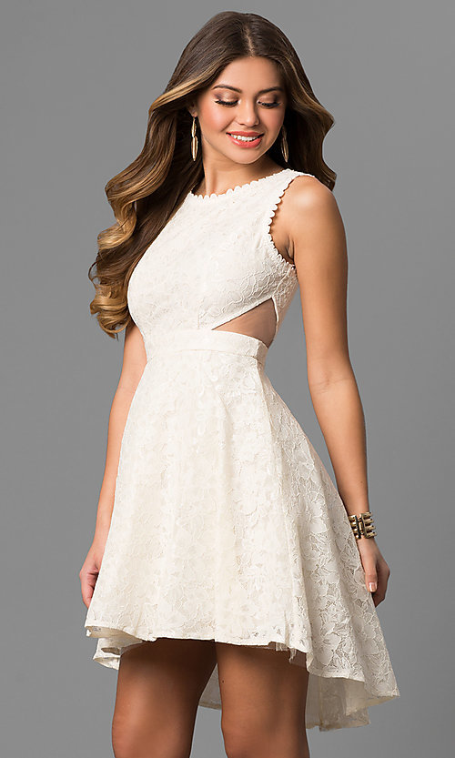 Image of lace high-low short graduation dress with cut outs. Style: LP-24197 Detail Image 1