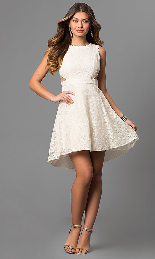 Image of lace high-low short graduation dress with cut outs. Style: LP-24197 Detail Image 2