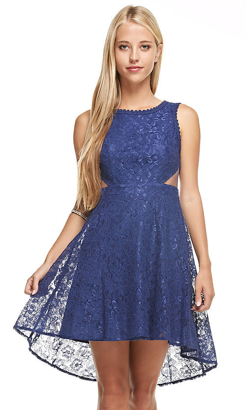 Image of lace high-low short graduation dress with cut outs. Style: LP-24197 Detail Image 3