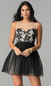 Image of short graduation party dress with illusion-lace bodice. Style: LP-24249 Detail Image 1