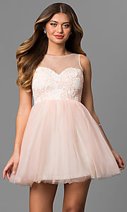 Image of short graduation party dress with illusion-lace bodice. Style: LP-24249 Front Image