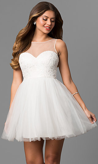 Formal Ivory Gowns, Short Ivory Cocktail Party Dresses