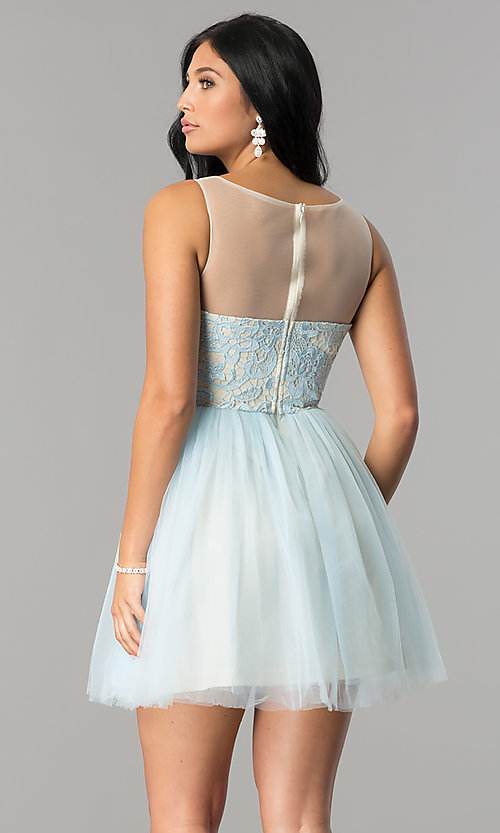 Image of short graduation party dress with illusion-lace bodice. Style: LP-24249 Back Image