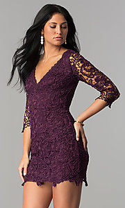 Image of short v-neck lace graduation party dress with sleeves.  Style: LP-27048 Detail Image 3