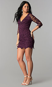 Image of short v-neck lace graduation party dress with sleeves.  Style: LP-27048 Detail Image 4