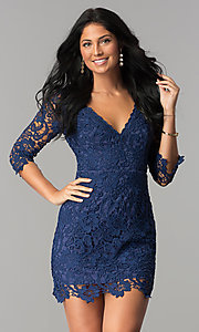Image of short v-neck lace graduation party dress with sleeves.  Style: LP-27048 Detail Image 5