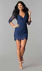 Image of short v-neck lace graduation party dress with sleeves.  Style: LP-27048 Detail Image 7