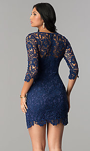 Image of short v-neck lace graduation party dress with sleeves.  Style: LP-27048 Detail Image 6