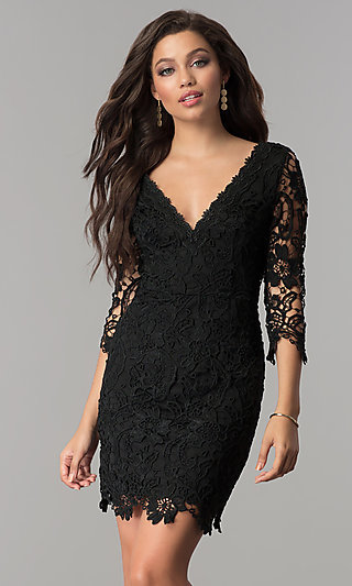 Short V-Neck Lace Graduation Party Dress with Sleeves
