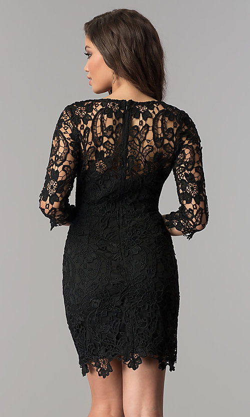 Image of short v-neck lace graduation party dress with sleeves.  Style: LP-27048 Back Image