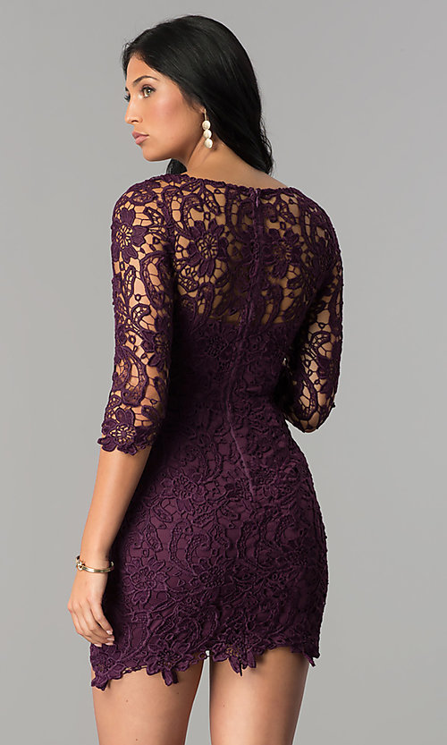 Image of short v-neck lace graduation party dress with sleeves.  Style: LP-27048 Detail Image 2
