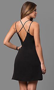 Image of short v-neck multi-strap shift cocktail party dress. Style: VJ-LD41424 Back Image
