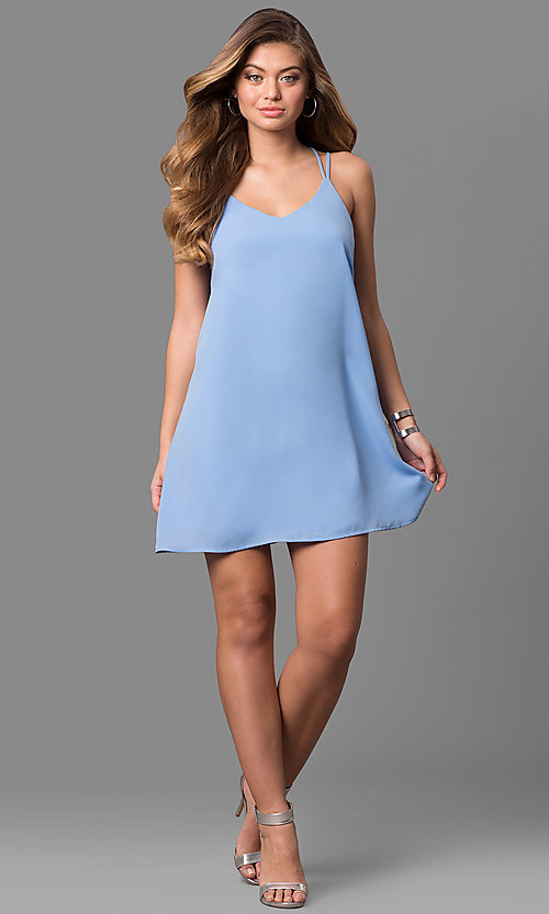 Image of short v-neck multi-strap shift cocktail party dress. Style: VJ-LD41424 Detail Image 1