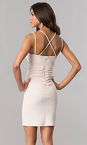 Image of empire-waist short v-neck party dress in buff pink.  Style: MY-4584US1C Back Image