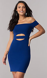 Image of off-the-shoulder royal blue short party dress. Style: MY-4595US1C Back Image
