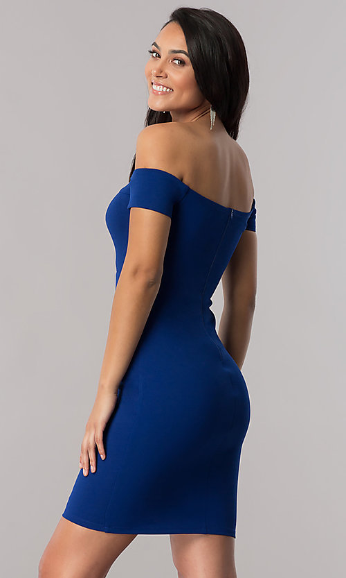 Image of off-the-shoulder royal blue short party dress. Style: MY-4595US1C Front Image