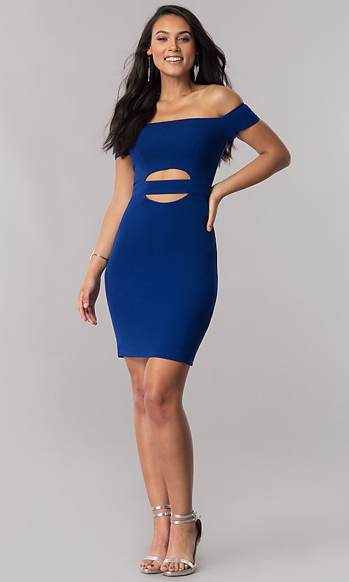 Image of off-the-shoulder royal blue short party dress. Style: MY-4595US1C Detail Image 1