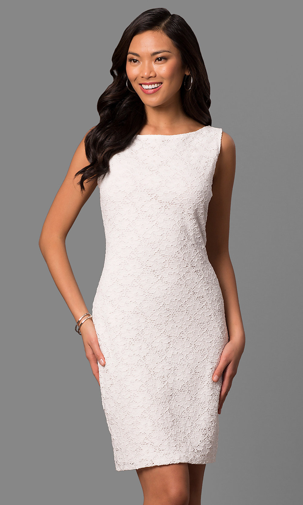 White Lace Short Rehearsal Dinner Party Dress