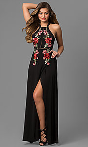 Image of mock-wrap long black maxi dress with embroidery. Style: LUX-LD3681 Front Image