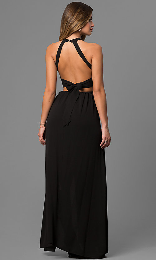 Image of mock-wrap long black maxi dress with embroidery. Style: LUX-LD3681 Back Image