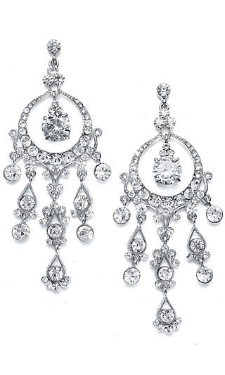 Silver Crystal Cascading Chandelier Earrings