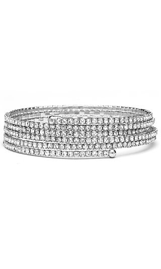 Shimmering Five-Row Bracelet with Pave Rhinestones