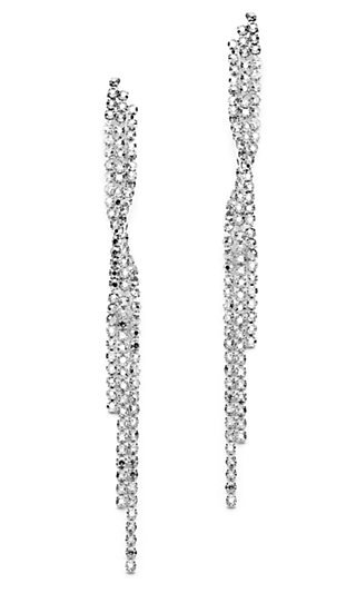 Silver Rhodium and Crystal Cascading Earrings