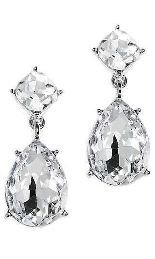 Drop Earrings with Silver Rhodium and Clear Crystal