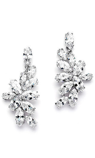 Marquis Leaf Earrings with Cubic Zirconia