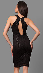 Image of high-neck short cocktail party dress in sequin lace. Style: MB-7153 Back Image
