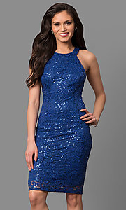 Image of high-neck short cocktail party dress in sequin lace. Style: MB-7153 Front Image