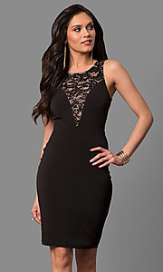 Image of cut-out short party dress with sequined lace. Style: MB-7152 Detail Image 2
