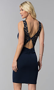 Image of cut-out short party dress with sequined lace. Style: MB-7152 Back Image