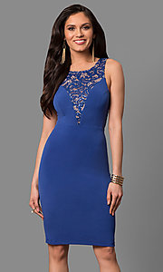 Image of cut-out short party dress with sequined lace. Style: MB-7152 Detail Image 3