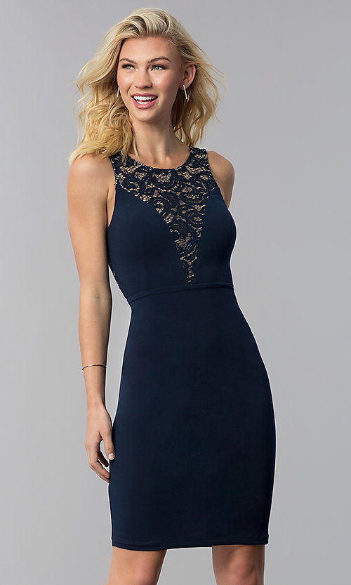 Image of cut-out short party dress with sequined lace. Style: MB-7152 Front Image
