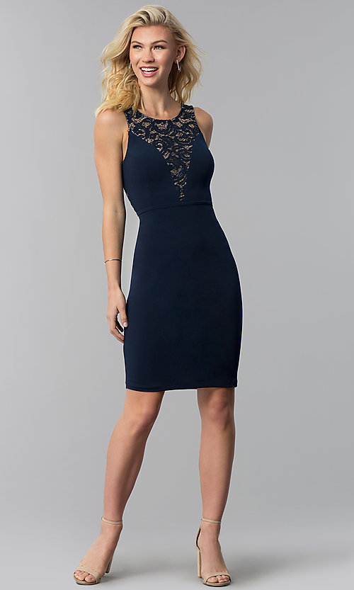Image of cut-out short party dress with sequined lace. Style: MB-7152 Detail Image 1