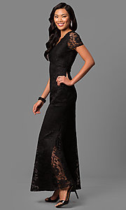 Image of long lace short-sleeve mother-of-the-bride dress. Style: ET-ESHMP273 Detail Image 1