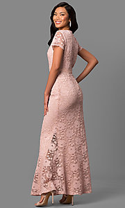 Image of long lace short-sleeve mother-of-the-bride dress. Style: ET-ESHMP273 Back Image